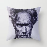 clint eastwood Throw Pillows featuring Clint Eastwood by Bronsolo Illustration