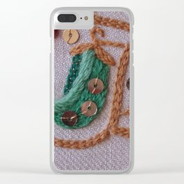 Elizabethan Embroidery Pea Pods Clear iPhone Case