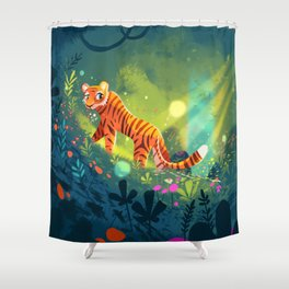 Tiger in the Garden of Kings Shower Curtain