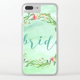 Bride Modern Typography Pink Roses Wreath Clear iPhone Case