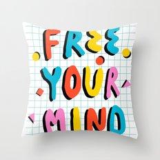 Hella' - retro 80s throwback memphis style trendy 1980's neon vibes typography Throw Pillow