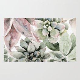 Circular Succulent Watercolor Rug