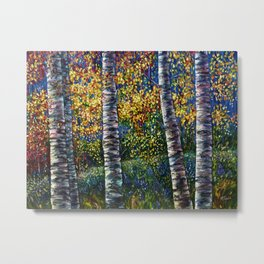 A Midsummer Dream Aspen Trees Palette Knife Painting  Metal Print