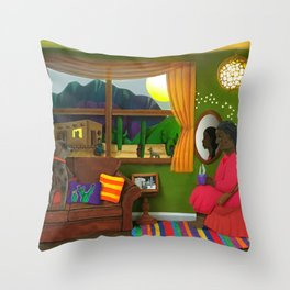 Abuela's Childhood Memories Paper Art Throw Pillow