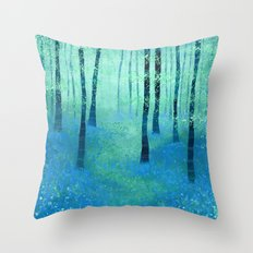 Bluebells, Challock Throw Pillow