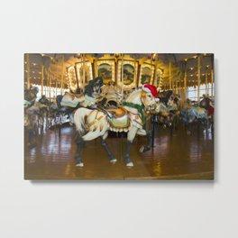 Holiday Carousel Horse Metal Print