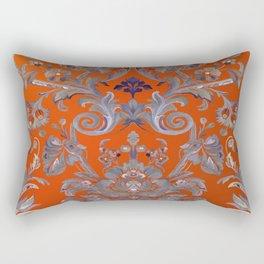 Painted Tibetan Brocade orange Rectangular Pillow