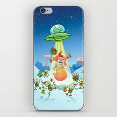 Santa Claus Abducted by a UFO just before Christmas iPhone & iPod Skin