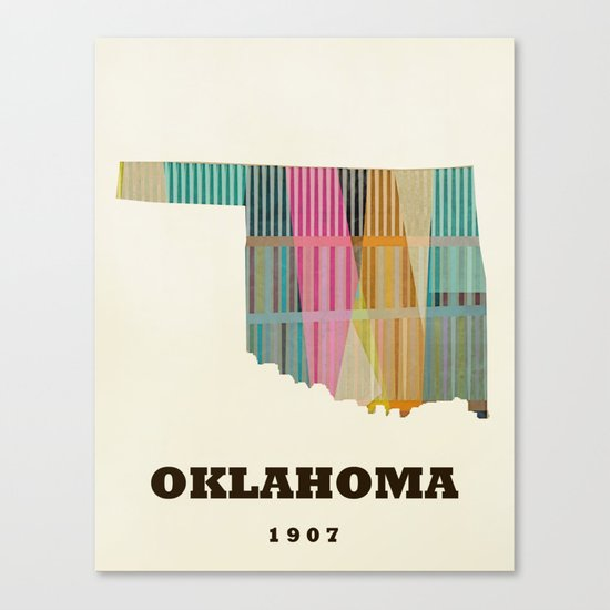 Oklahoma state map modern  Canvas Print