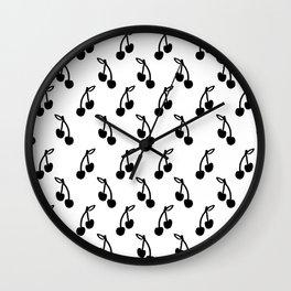 Linocut cherry fruit black and white minimal pattern print cherries Wall Clock