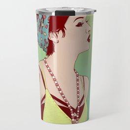 Pop Art Lady Travel Mug
