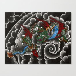 Japanese tattoo style dragon in sumi ink wash and watercolor Canvas Print