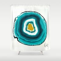 agate Shower Curtains featuring Agate Turquoise  by Xchange Art Studio