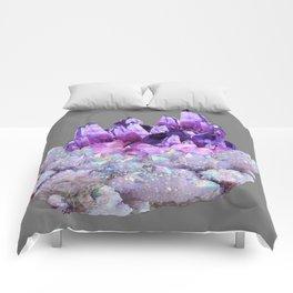 SPARKLY WHITE QUARTZ & PURPLE AMETHYST CRYSTAL Comforters
