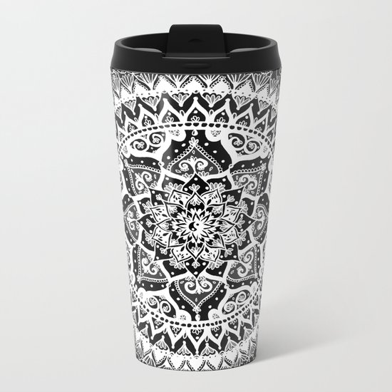 Yin Yang Mandala Pattern Metal Travel Mug