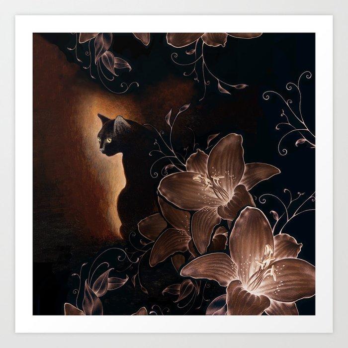 Black Kitty Halloween Kunstdrucke