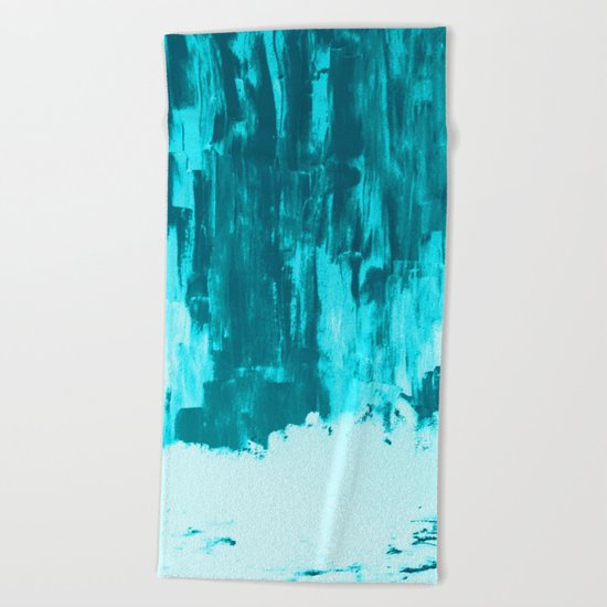 Bright Blue Snow Nights with Icicles Beach Towel
