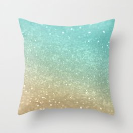 Sparkling Gold Aqua Teal Glitter Glam #1 #shiny #decor #society6 Throw Pillow
