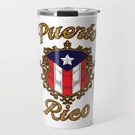 Puerto Rico Emblem - Puerto Rican Pride Flag Travel Mug