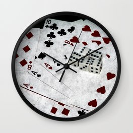 Playing Cards Dices Good Luck Wall Clock