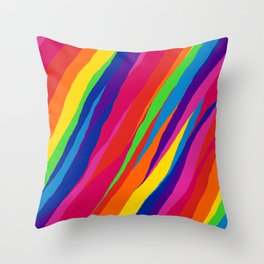 Wonky Rainbow Stripes Throw Pillow