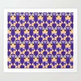 Super cute cartoon cow in purple - a moo-st have design for cow enthusiasts! Art Print