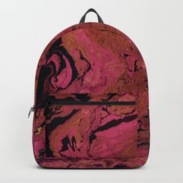 Marble texture background black and cream , pink shades . Backpack