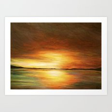 morning coffee and salt air Art Print
