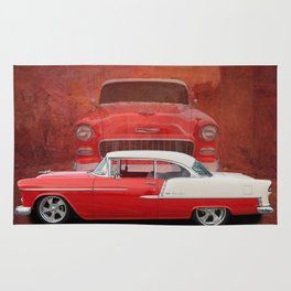 Classic Car Chevy Bel Air Red White Vintage Rug