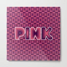 Pink square pattern 70's disco style Metal Print