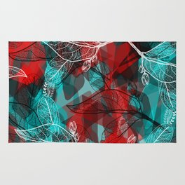 Abstract geometric pattern with Leaves contours. red maroo Rug