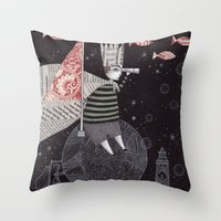 yetiland Throw Pillows featuring Five Hundred Million Little Bells (3) by Judith Clay