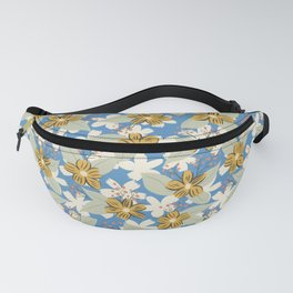 Seventies Floral in Blue and Mustard Yellow Fanny Pack