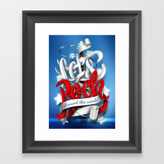 Let's Rock Around The World Framed Art Print