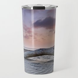 Half Moon Beach. Red sky Travel Mug