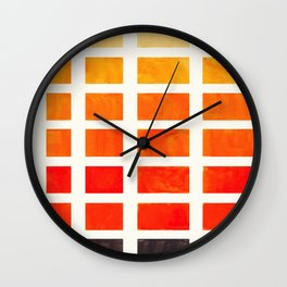 Watercolor Colorful Orange Minimalist Mid Century Modern Square Matrix Geometric Pattern Round Circl Wall Clock