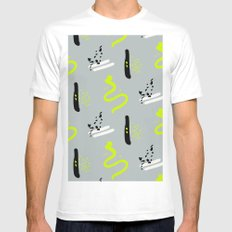 yellow hipster print White MEDIUM Mens Fitted Tee