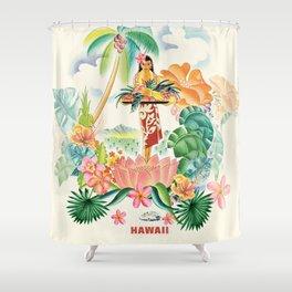 Vintage Hawaiian Travel Poster Shower Curtain