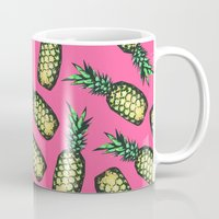large Mugs featuring Pineapple Pattern by Georgiana Paraschiv
