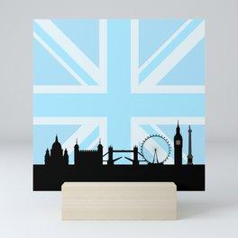 London Sites Skyline and Blue Union Jack/Flag Mini Art Print