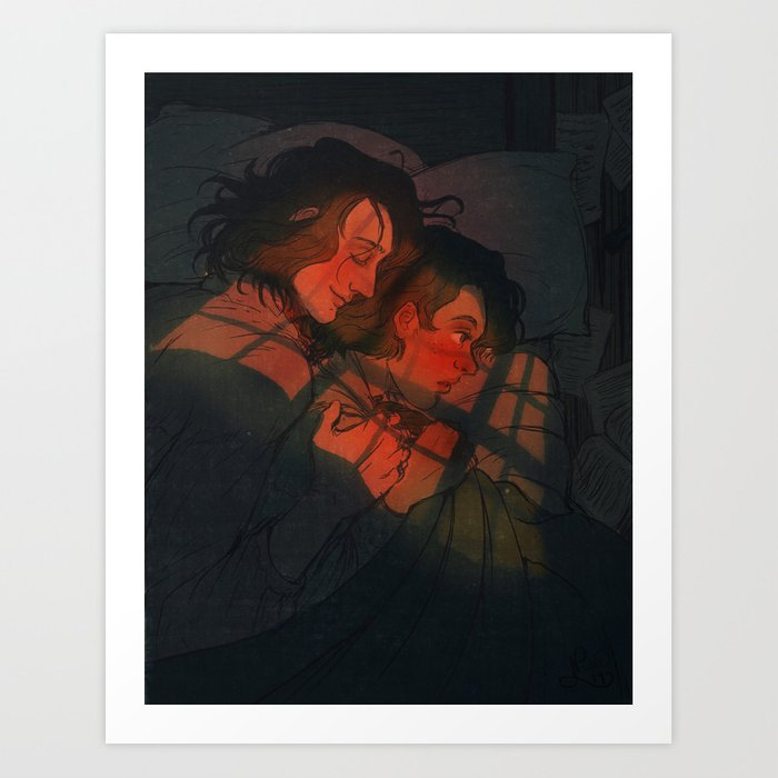 Marius and Courfeyrac Accidental Cuddling Art Print