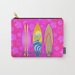 Pink Born To Surf Pink Flowers Carry-All Pouch