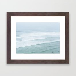 Tiny Surfers from the Sky 3, Lima, Peru Framed Art Print