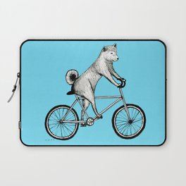 Shiba Inu Riding a Bicycle Laptop Sleeve