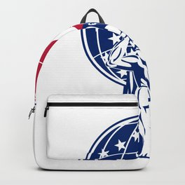 Atlas Carrying Globe With USA Flag Backpack