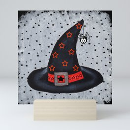 Black Witch Hat Silver Buckle Black Stars Cute Dangling Spider Mini Art Print