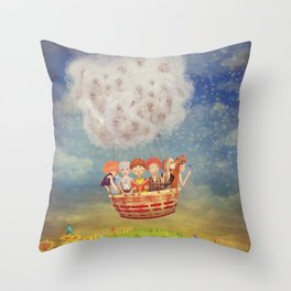 Happy children in the   air balloon in the sky - illustration art Throw Pillow