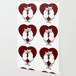 Cat Couple, White Cats with Big Red Heart, Love, Romance Wallpaper