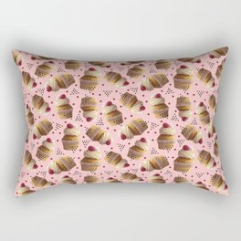 Raspberry Cream Frosting Cupcake Pattern Rectangular Pillow