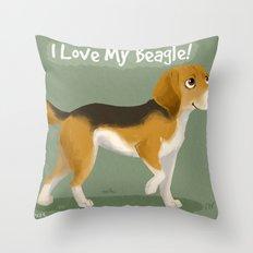 I love my beagle! Throw Pillow